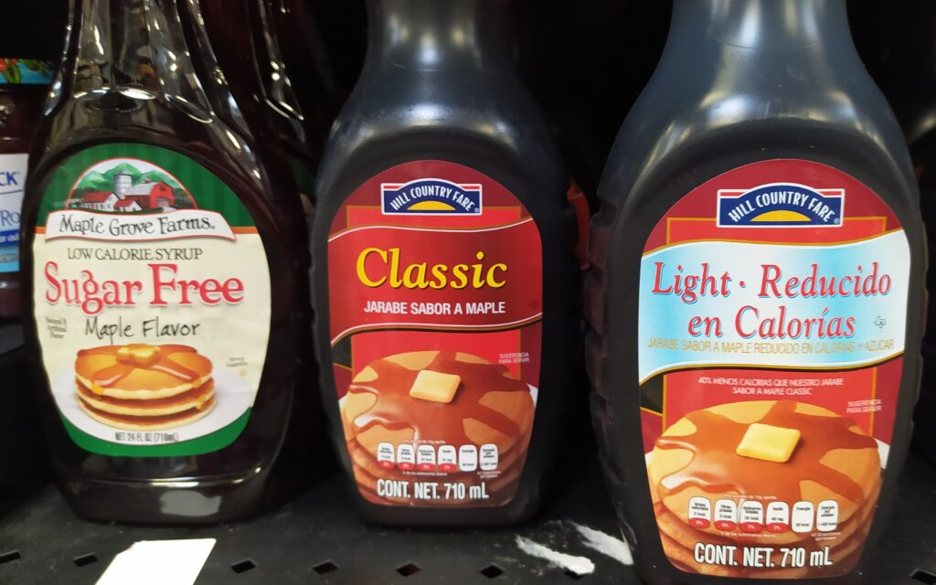 Pancake syrup at a grocery store in Mexico