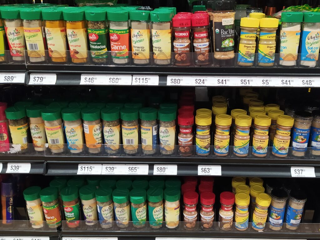 Seasonings at a grocery store in Mexico