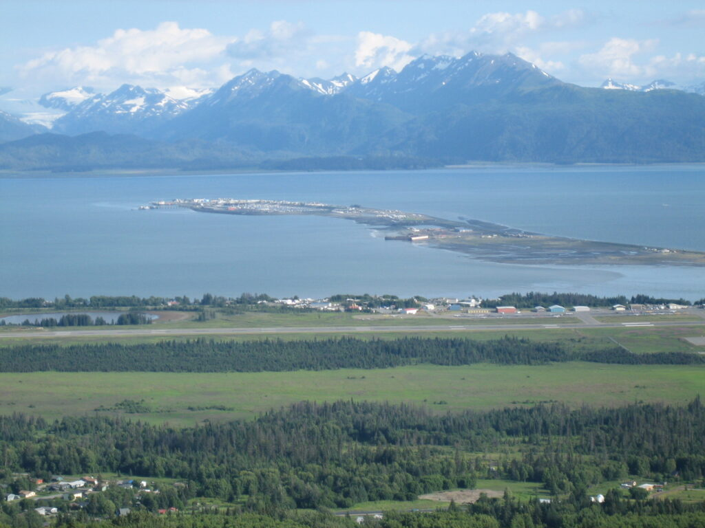 Homer Spit stretching 4.5 miles out into Kachemak Bay, Alaska