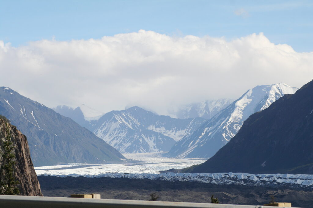 View of a receding glacier while driving to Valdez, Alaska