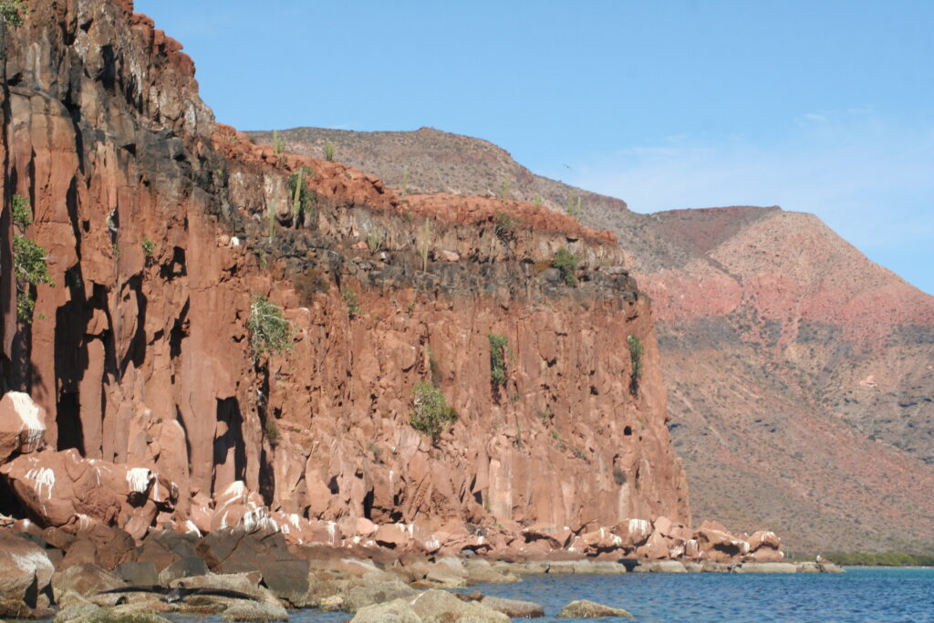 Red cliffs of Gulf of California Islands, Mexico