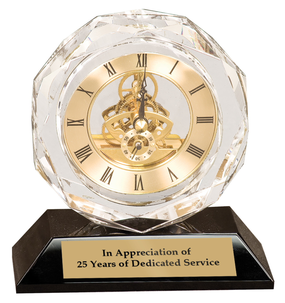 Clock engraved executive gift