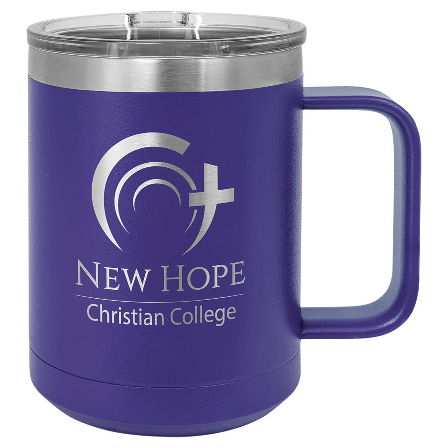 Purple 15 oz. stainless steel coffee mug with slider lid