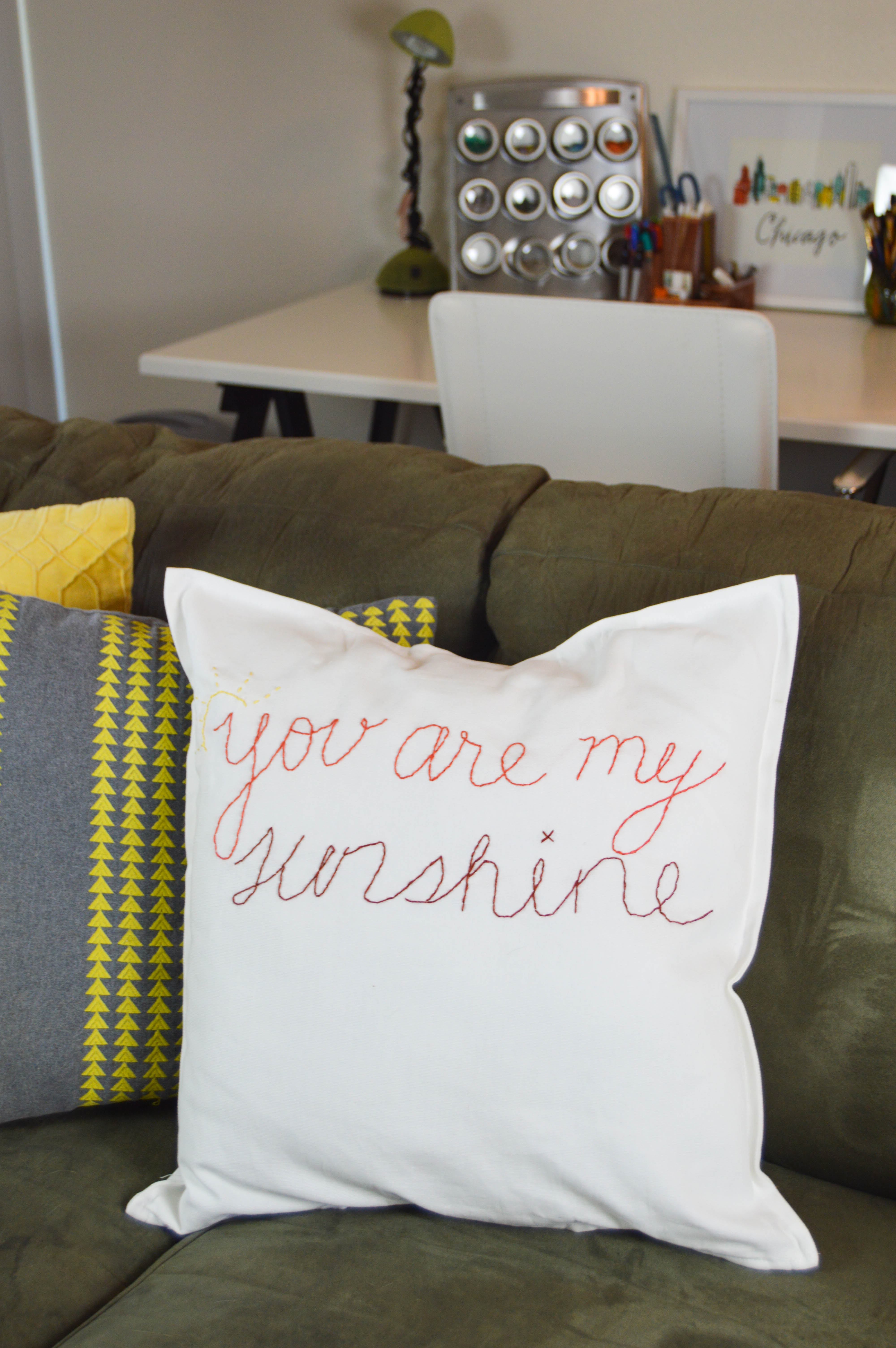 DIY Hand Stitched Saying Pillow