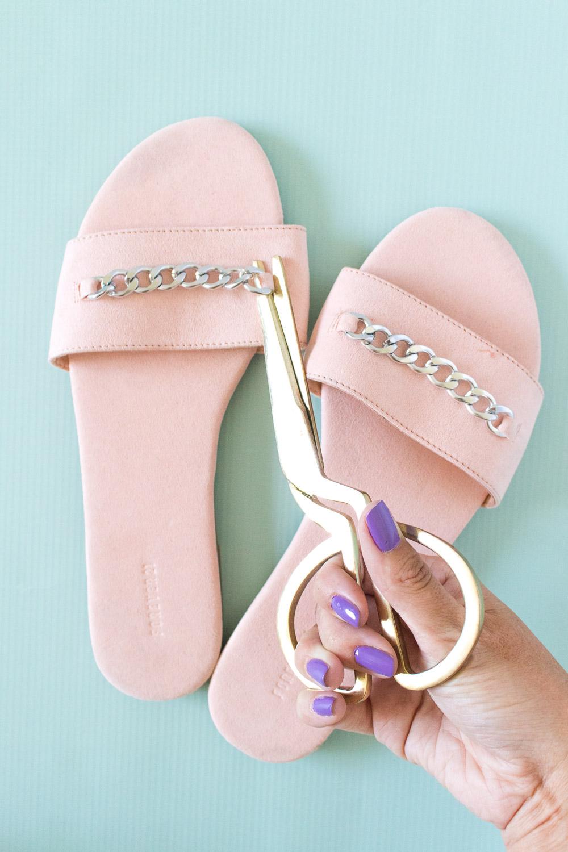 DIY Rhinestone Slider Sandals | Club Crafted