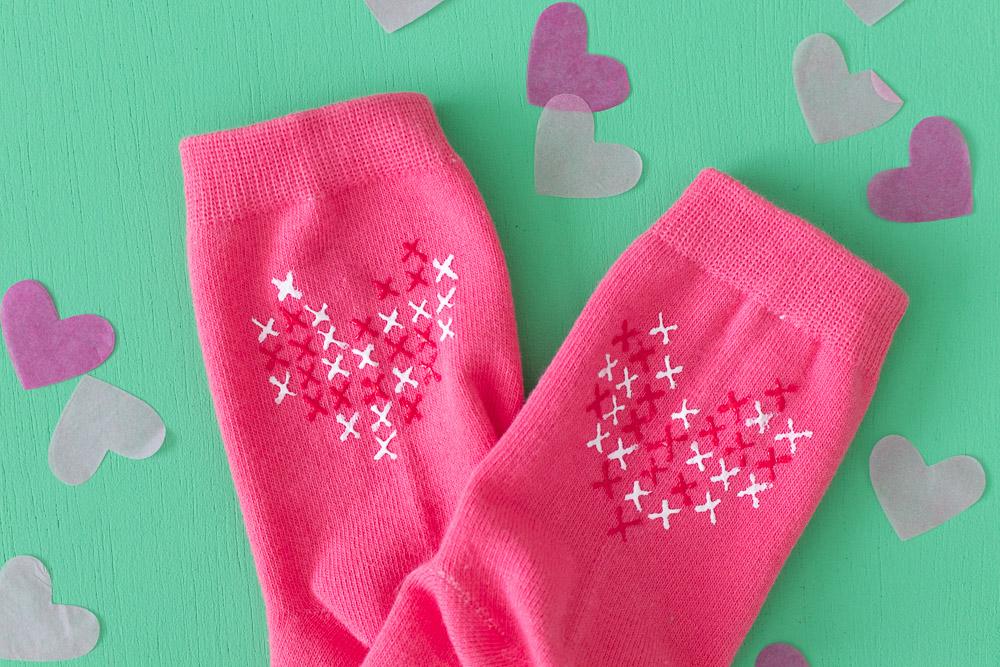 DIY Faux Cross Stitch Socks   Club Crafted