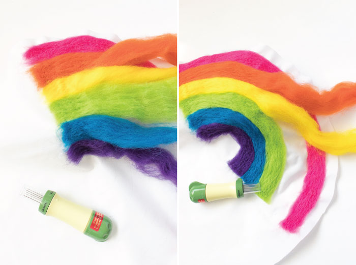 DIY Needle Felted Rainbow Pillow | Club Crafted