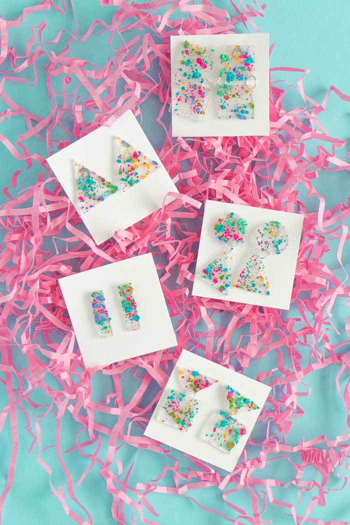 DIY 80s-Inspired Splatter Paint Earrings   Club Crafted