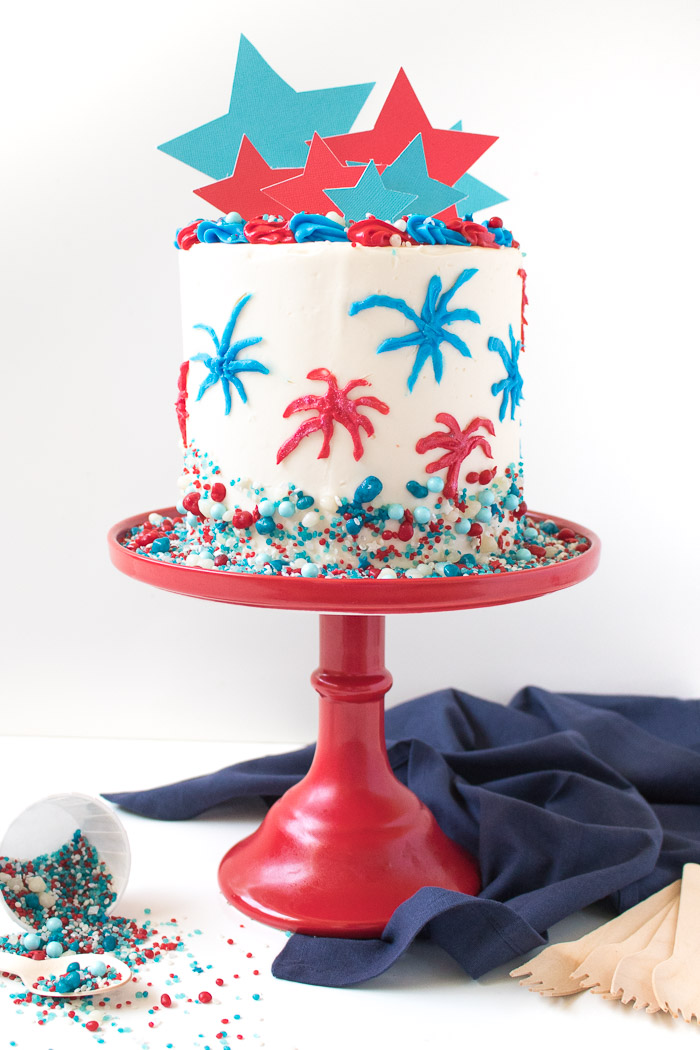 Admirable Red White Blue Firework Cake For 4Th Of July Club Crafted Funny Birthday Cards Online Alyptdamsfinfo