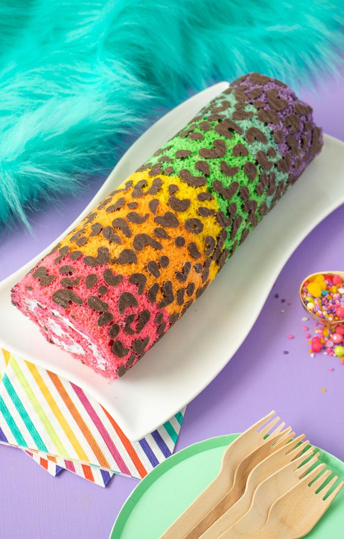 Lisa Frank-Inspired Rainbow Leopard Print Cake Roll   Club Crafted
