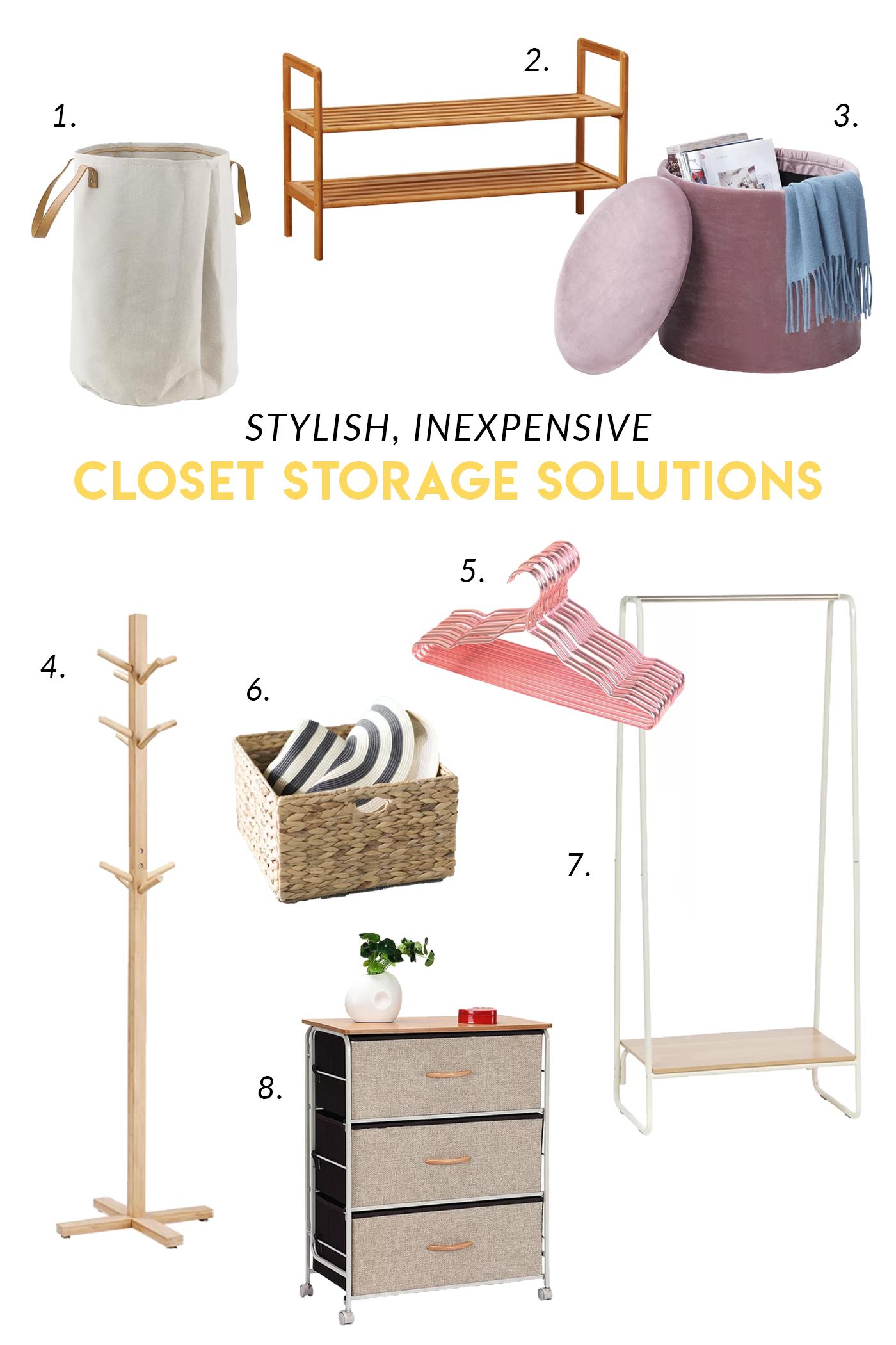 Stylish, Inexpensive Closet Storage Solutions / Shop these favorite inexpensive storage solutions from Wayfair for managing your messy closet! #shopping #closet #organization #homedecor #wishlist #wardrobestorage #minimalist