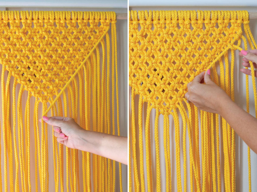 Colorful Macrame Wall Hanging for Beginners // Use simple macrame knots to make a colorful wall hanging with two-tone fringe that's perfect for customizing! #macrame #homedecor #diydecor #wallart #wallhanging #fringe