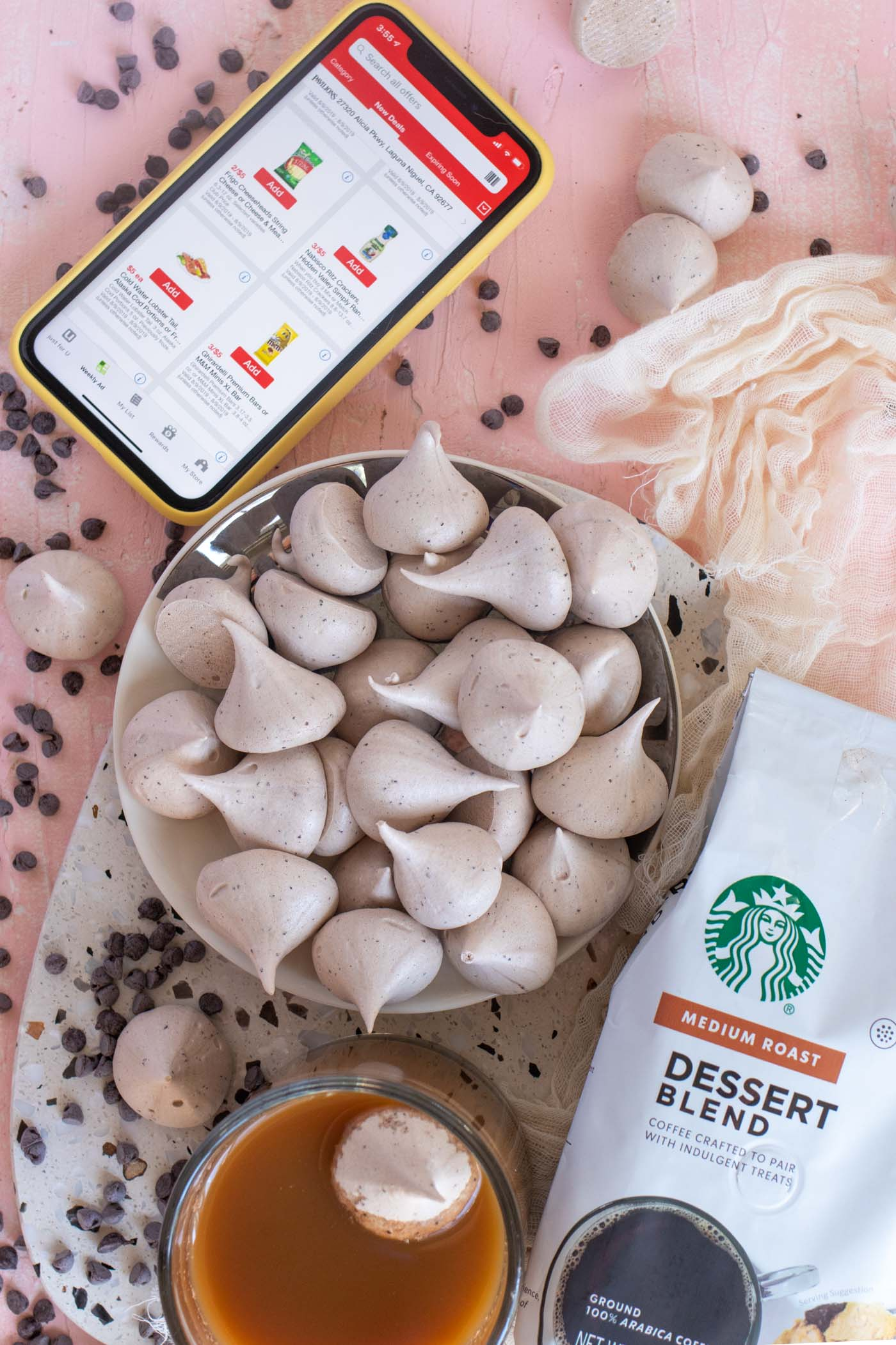 Easy Mocha Meringues // Make easy coffee-flavored meringues with Starbucks Dessert Blend ground coffee from Pavilions! #ad These homemade meringues are flavored with chocolate and fresh ground coffee for a perfect balance of flavors that compliment your morning cup of coffee perfectly! #coffee #meringue #chocolate #easyrecipes #easydessert #5ingredientrecipes #coffeelovers #coffeeaddict