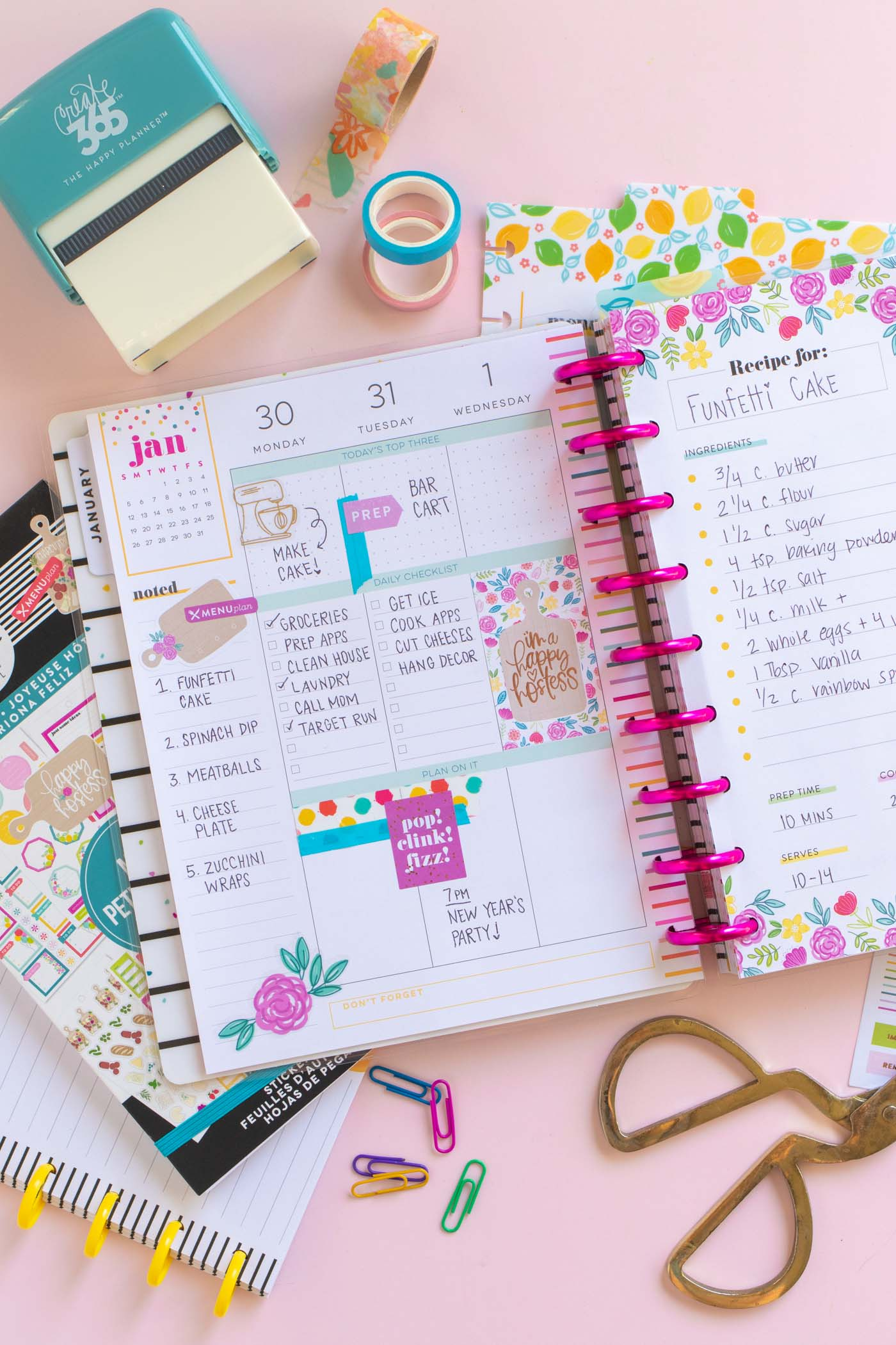 Planning with the New Miss Hostess Happy Planner // #ad See how to start planning for 2020 in the new Miss Hostess Happy Planner at @joann! Use stickers, folders, dry erase pages and recipe cards for event planning and entertaining prep in your planner! #handmadewithjoann #happyplanner #plannerinspiration #plannerideas #planning #entertaining #papercrafts