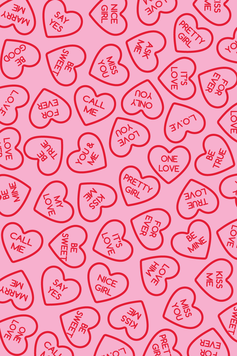 Free Valentine's Day Wallpaper for Desktop and Mobile // Download this free mobile wallpaper or desktop background with a red and pink conversation heart background! #freebie #freewallpaper #valentinesday #mobilewallpaper #freedownload