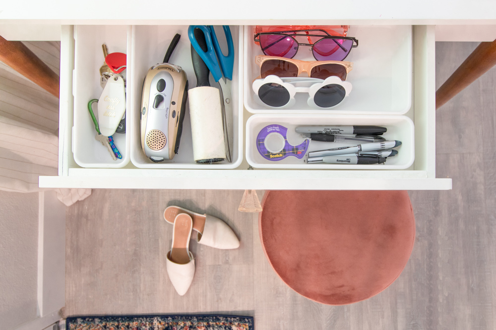 overhead view of drawer dividers in entryway table