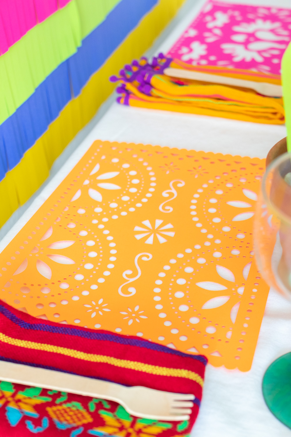 papel picado paper placemats in orange