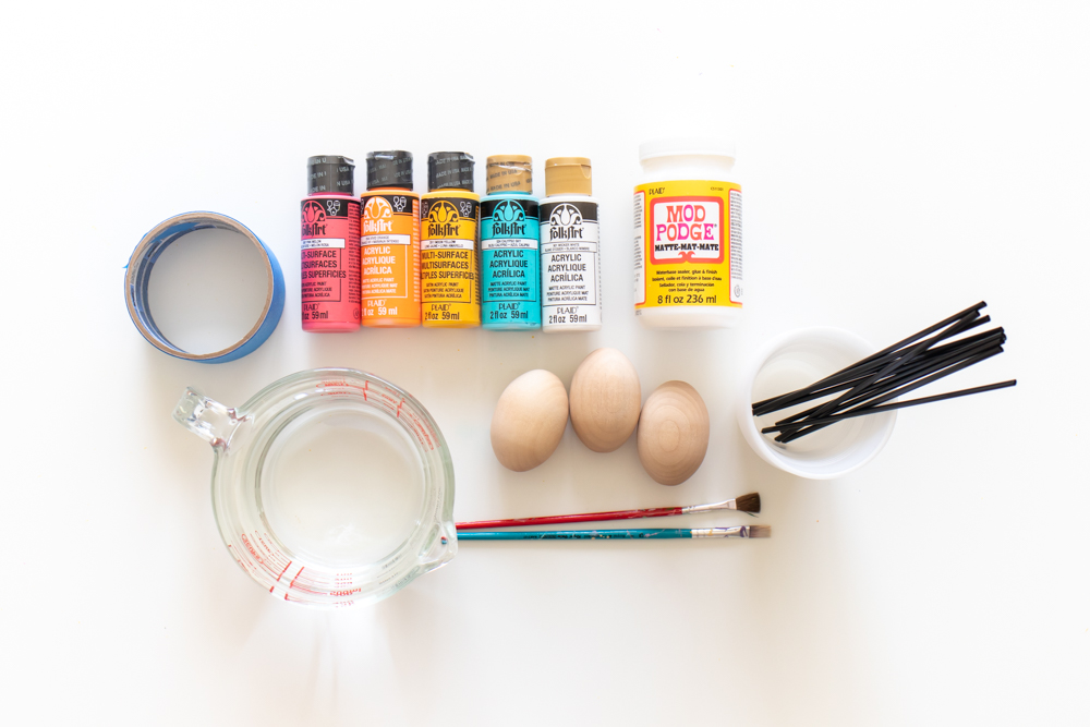 supplies for making fluid painted easter eggs
