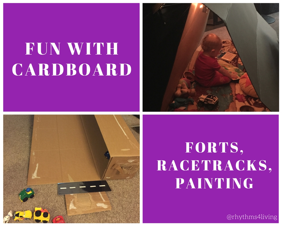 young children, indoor play, cardboard