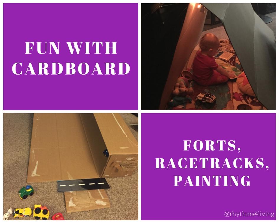 young children, indoor play, cardboard