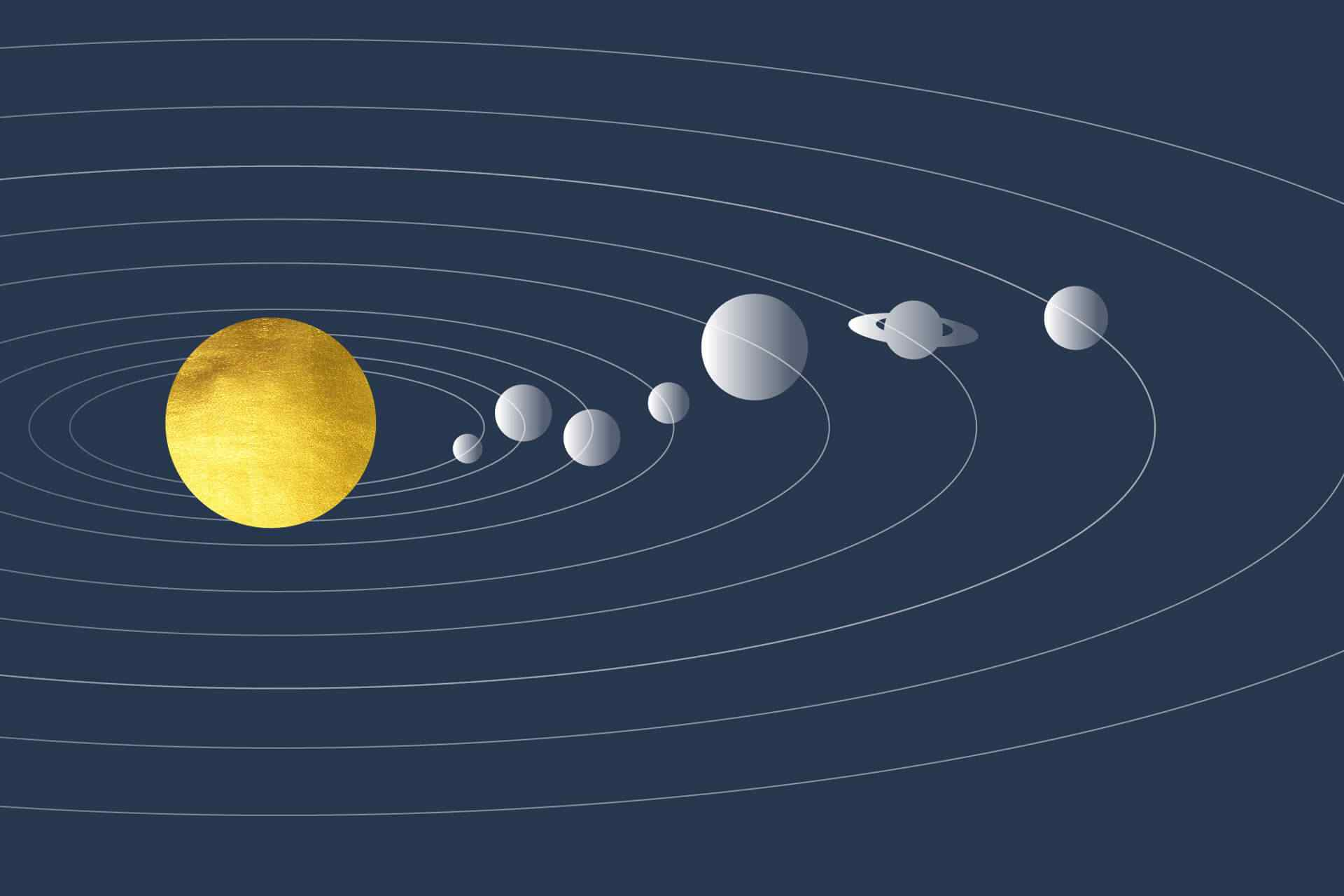 the scientific diagram of the path of planets orbiting a yellow sun
