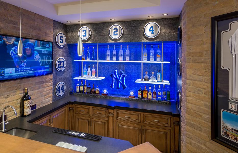 Sports bar of custom home built by Chris O'Grady as Director of Construction at Grady O Grady