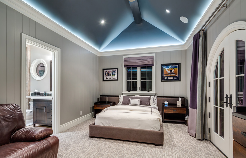 In-ceiling speakers in bedroom of custom home built by Chris O'Grady as Director of Construction at Grady O Grady