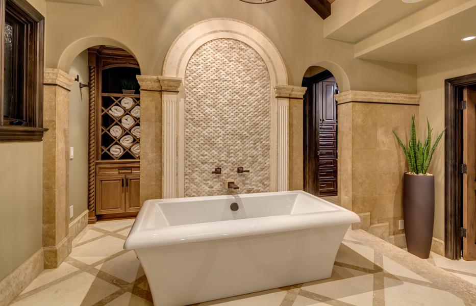Stand alon bath tub in a custom home built by Chris O'Grady as Director of Construction at Grady O Grady