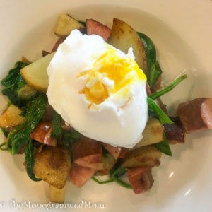 Sausage Spinach Potato Saute With Poached Egg Avocado {Whole30} {Paleo}