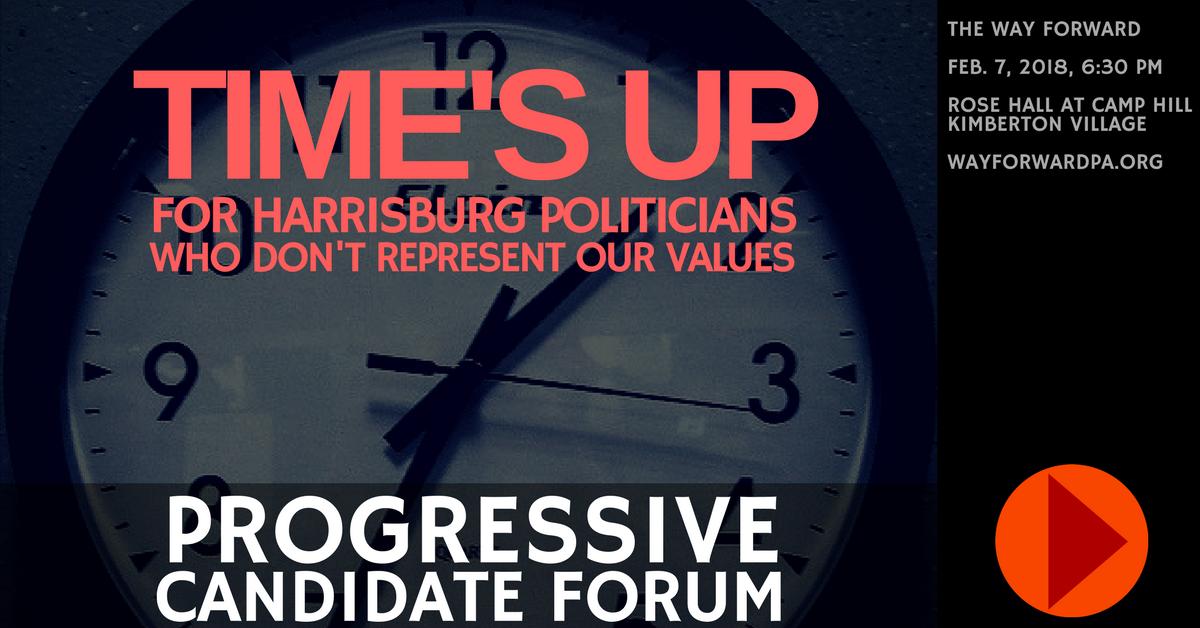 Way Forward Progressive Candidate Forum In Phoenixville, Feb. 7 - Announcement Graphic.