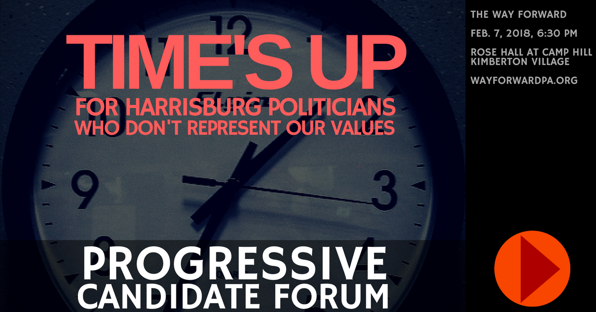 Way Forward Progressive Candidate Forum In Phoenixville, Feb. 7 - Announcement Graphic.