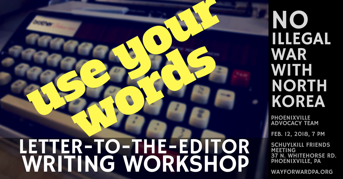 No War With North Korea: Letter-to-the-editor Workshop