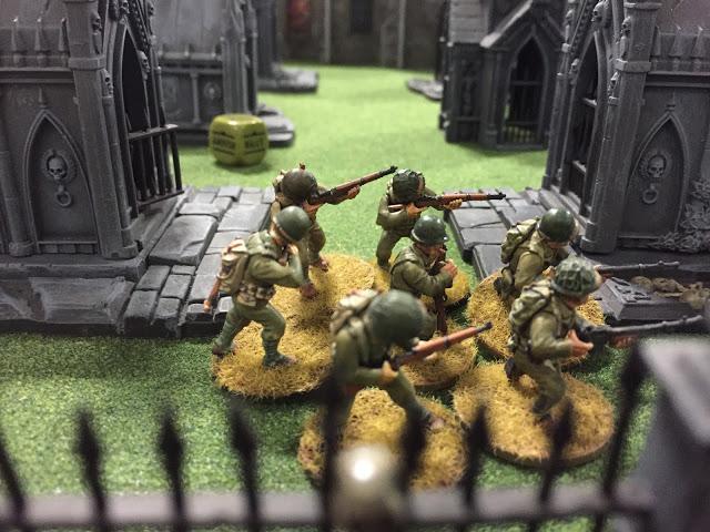 American soldiers in a Graveyard