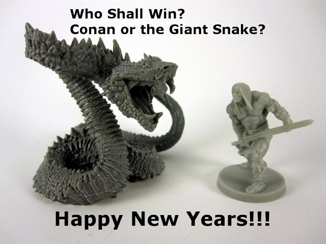 32mm Miniatures of Conan and a Giant Snake