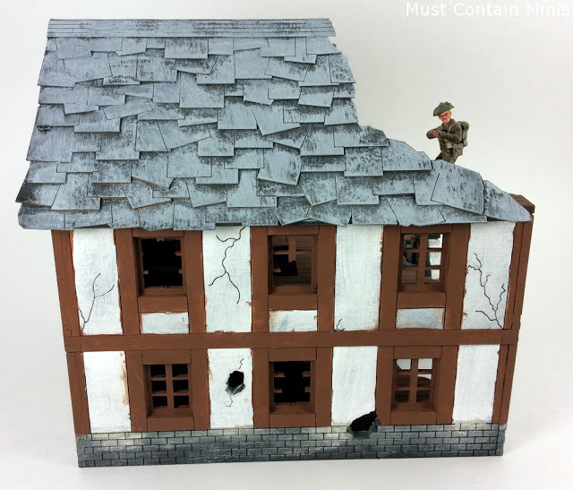 Painted MDF House with Bolt Action Figure for scale
