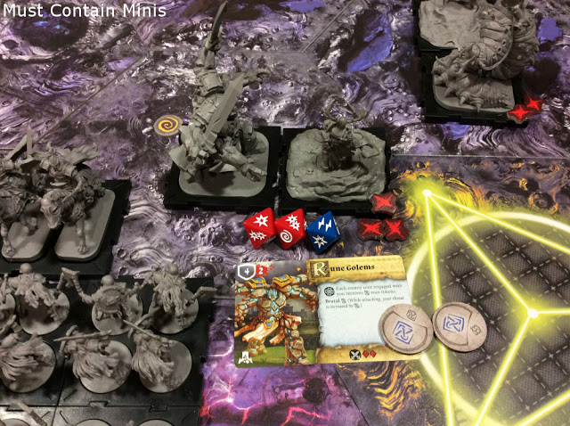 Golem vs Ardus in Runewars the Miniatures Game