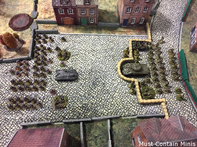 A great shot of the battlefield with the two Armies - Bolt Action