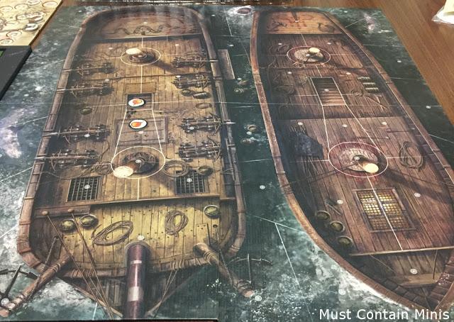 Ships in a miniature board game