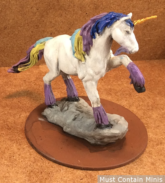 Painting up a Dungeons and Dragons / Pathfinder Unicorn Miniature