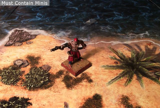 Miniature pirate on a deserted island