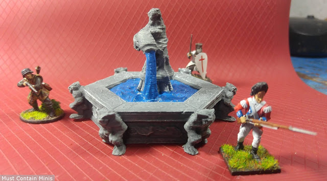 28mm with 3D Printed Fountain - DragonLock Fat Dragon Games
