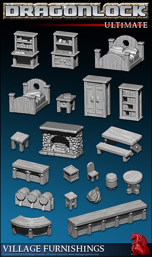 Village Furnishings Collection for 3D Printer