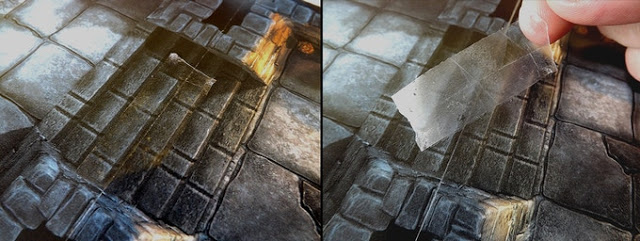 Tape the gaming tiles together to create a larger gaming table