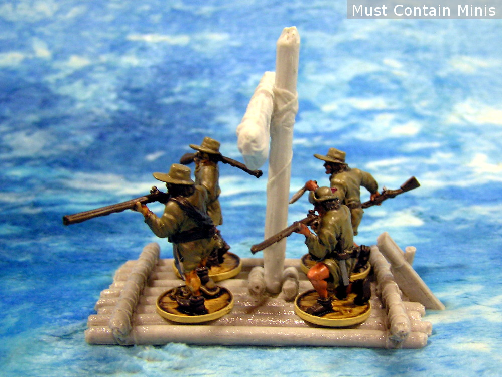 The Frostgrave Ghost Archipelago Raft with Blood & Plunder Miniatures aboard.