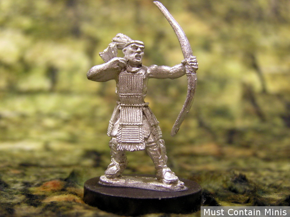 A miniature of a Huron Warrior in full wooden armour - Archer