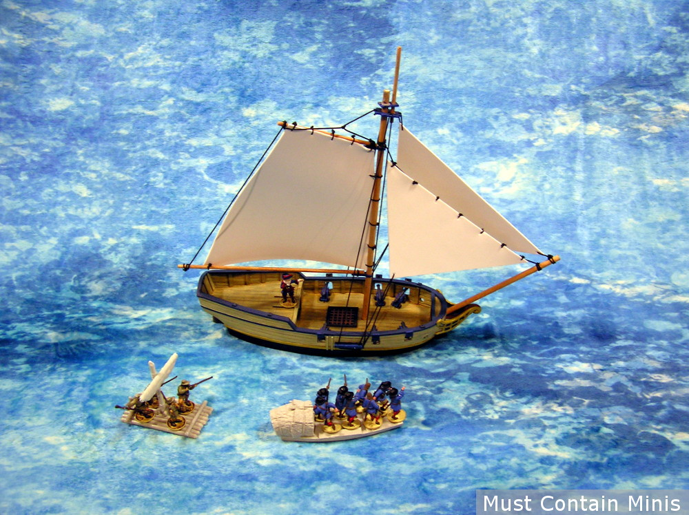 Frostgrave: Ghost Archipelago boats with a Blood & Plunder Ship