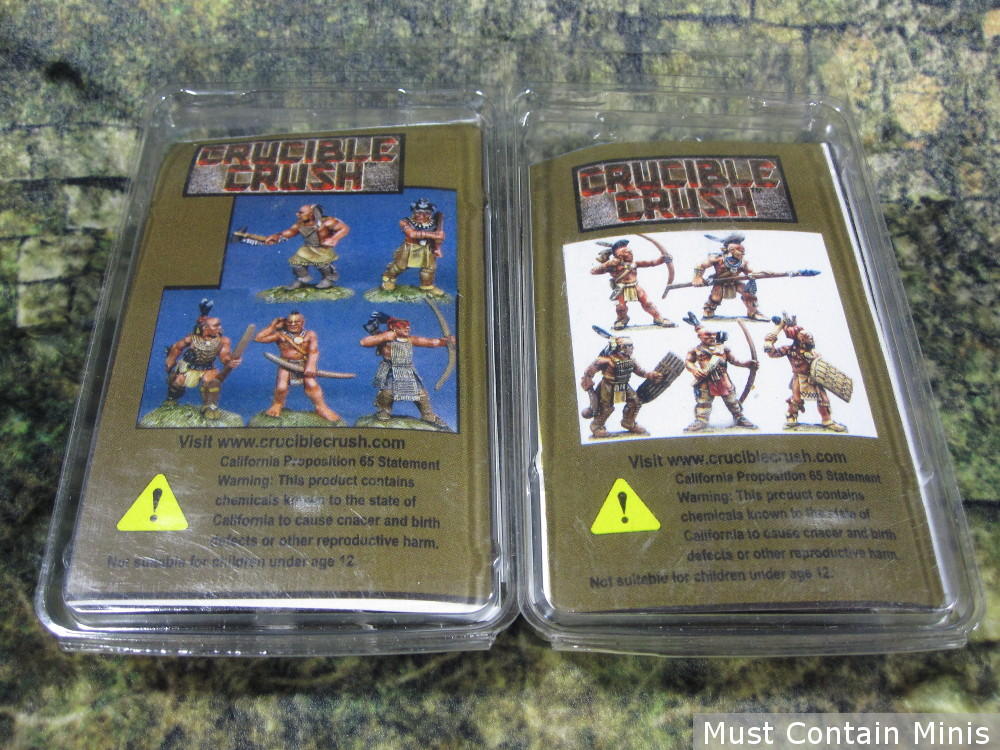 Back of Flint and Feather 5 Miniature Blister Packs