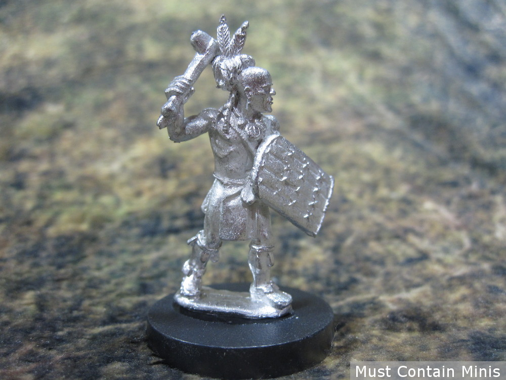 An Iroquois Warrior armed with a club and a shield. 28mm Miniature