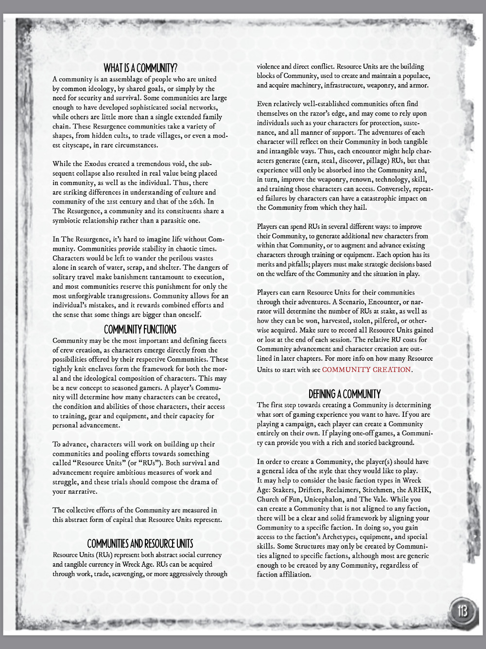 Wreck Age 2nd Edition Skirmish Rules Sample Page - In the Book