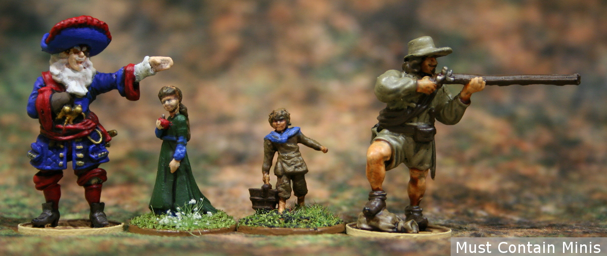 Scale comparison picture of Blood & Plunder Miniatures by Firelock Games to these 28mm Children by Wizkids.